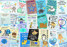 Set Of Boys Personalised Baby Milestone Photo Prop Cards Signs & Posters