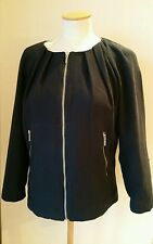 Ladies French Connection Jacket bomber biker Size 8 navy blue
