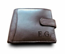 Mens Personalised Engraved Leather Wallet 3rd Wedding Anniversary Gift Husband