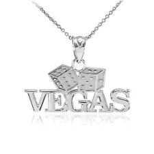 Fine 925 Sterling Silver VEGAS Dice Pendant Necklace Lucky Charm