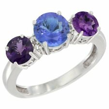 10k Gold Round 3-Stone Natural Tanzanite Ring & Amethyst Side Stones, Diamond
