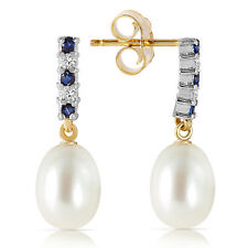 Natural Blue Sapphires, Cultured Pearls, Diamonds Dangle Earrings 14K Solid Gold