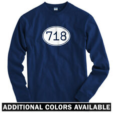 Area Code 718 NYC Long Sleeve T-shirt LS - Brooklyn Bronx Queens - Men / Youth
