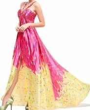 EP Womens Sexy Trailing Satin Rhinestone Long Evening Dress Gown, Red Yellow, 12
