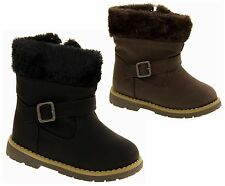 Girls Faux Leather Zip Boots Infant and Toddler Cosy Faux Fur Winter Boots