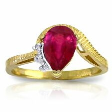 Genuine Red Ruby Pear Cut Gem & Diamonds Ring in 14K. Yellow, White or Rose Gold