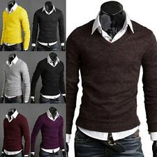 Men Pop Slim Fit V-neck Knit Cardigan Pullover Jumper Sweater Tops Fashion W18
