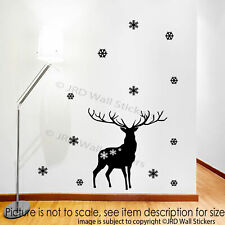 Merry Christmas Reindeer Wall Sticker snowflake Xmas Shop Window Decal Decor Art