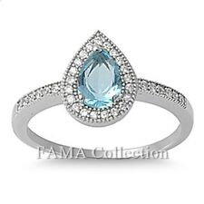 FAMA 925 Sterling Silver Ring Blue Topaz Pear Cut Stone w/ Paved CZ Size 5-8