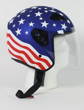 Red White and Blue American DOT Motorcycle Helmet RK-5 Open Face w/ Flip Shield