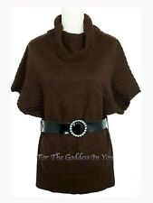 S6 BROWN COWL NECK KNITTED SWEATER TUNIC TOP W/ BELT WOMENS S M L XL