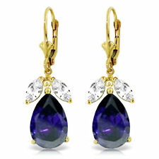 Genuine Sapphires & White Topaz Gems Leverback Dangle Earrings in 14K Solid Gold