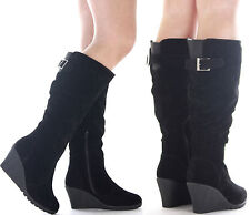 WOMENS LADIES BLACK KNEE CALF HIGH HEEL PLATFORM WEDGE BOOTS SHOES SIZE NEW 3-8