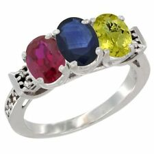 10k White Gold Enhanced Ruby, Blue Sapphire & Lemon Quartz 3-Stone Oval Cut Ring