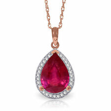 Genuine Ruby Pear Cut 5.35 ct Gemstone & Diamonds Necklace Choice 14K Solid Gold