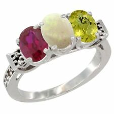 10K White Gold Enhanced Ruby, Natural Opal & Lemon Quartz 3-Stone Oval Cut Ring