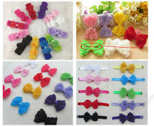 "Girls Baby Boutique Hair Bows Rose Chiffon 3"" Crochet headbands hair ornaments"