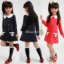 New Fashion Korean Cute Kids Girls Long Sleeve Doll Collar Double-breasted Dress
