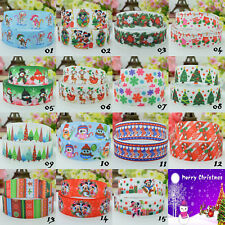 2 Yards  Single Sided Printed Christmas Grosgrain Ribbon Snowman Red Green  22mm
