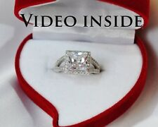 4.8Carat Princess Cut Engagement Diamond Ring Solid Sterling Silver 925