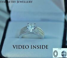 Oval Cut 2.8 Carat Engagement Diamond Ring Solid Sterling Silver 925