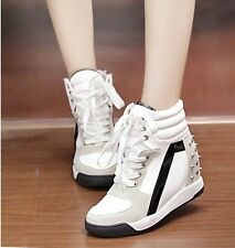 Awesome Faux Suede Studded Lace Up Wedge Platform Womens High Top Sneakers Shoes