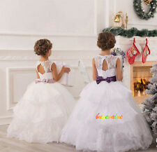 Age 2-14 Girls Party Bridesmaid Wedding Flower  girl Dress tutu dress Custom-G