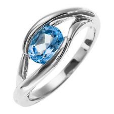 1.45 Carats Genuine Swiss Blue Topaz Solid 925 Sterling Silver Solitaire Ring