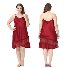 Womens 100% Mulberry Silk Nightgown Dress Lace Hem Homewear Elegant Plus Sz