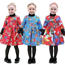 Girls Animal Printing Floral Dress Half Sleeve Princess Christmas Flower Dresses