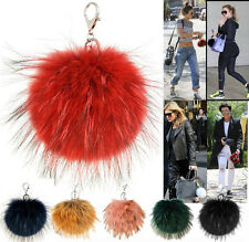 WOMENS NEW REAL FOX FUR CELEBRITY INSPIRED POM POM KEY RING HANDBAG ACCESSORY