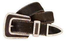 Womens Western Cowgirl Crystal Bling Hair on Rhinestone Leather Belt