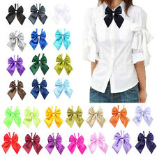 Womens Girls New Fashion Party Banquet Solid Stain Adjustable Bow Tie Neckties