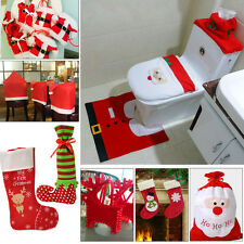 TopSALE Christmas Party Decor Santa Cloth Toilet Chair Cover Gift Candy Bag Sock