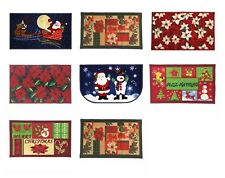 CHRISTMAS DESIGN KITCHEN RUG, LATEX BACK, SANTA, REINDEER, SNOWMAN, POINSETTIA
