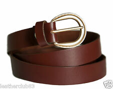 Brown Ladies Skinny Real Leather Laminated Tan Style Cowhide Belt 22 mm width