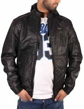 Ecko Mens Boys College Varsity Bomber Bikers Faux Leather Hip Hop Black Jacket C
