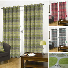 Luxury Fully Lined Retro Circle Spots Chenille Eyelet Heavy Curtains in 6 sizes