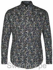 Pop England Mens Navy Paisley Long Sleeved Preppy Button Down Shirt Mod Skin 60s