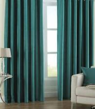 Teal Lined Faux Silk Curtains + Tiebacks in 8 Sizes