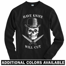 Have Knife Will Cut Long Sleeve T-shirt LS - Chef Skull Knives Hat Men / Youth