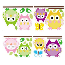 Four Owl Butterfly Tree Removable Vinyl Decal Kid Room Home Decor Wall Stickers