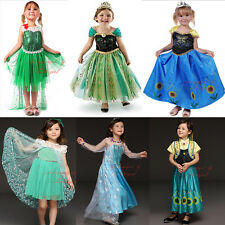 Kids Girls Fancy Dress Elsa Anna Frozen Dresses Halloween Princess Party 1-10 Y