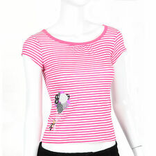 Paul Frank $37 Hot Pink White Striped Juniors Julius Balloons Short T Shirt Top