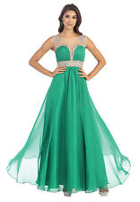 Prom Sleeveless Mesh Chiffon Formal Evening Long Dress Hand Beaded Embroidery