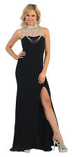 Formal Prom Dress Sleeveless Beaded Sequins Mermaid Fit Evening Long Gown