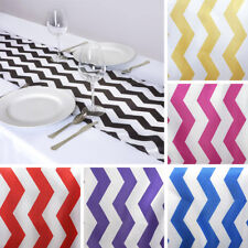 "6 x TABLE RUNNERS 12x108"" CHEVRON SATIN Party Wedding Catering Linens"