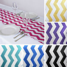 "12 pcs TABLE RUNNERS 12x108"" CHEVRON SATIN Party Wedding Catering Linens Dinner"