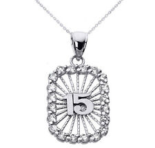 14k White Gold Sweet 15 Años Quinceañera CZ Rectangle Pendant Necklace
