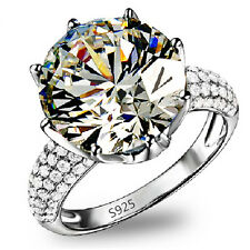 5CT Big Simulated Diamond Ring For women 925 Silver Bridal Wedding propose rings